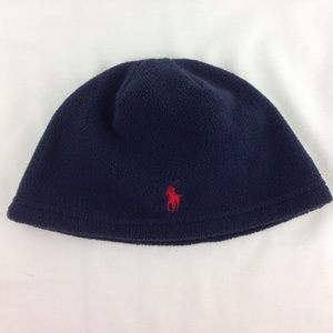 Polo Ralph Lauren Boys Fleece Beanie Hat Blue Pony